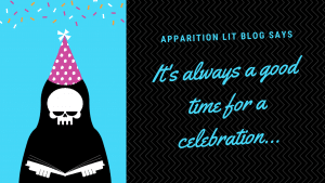 Apparition Lit ghostie with party hat on. Image says Its always a good time for a celebration.